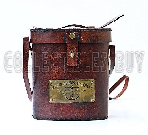 Victorian Marine Brass Leather Binocular Sailor Instrument London 1915 3
