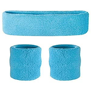 Suddora Sweatband Set - (1 Headband and 2 Wristbands) High Quality Cotton for Sports & More (Neon Blue)