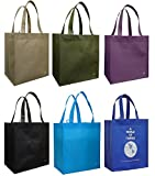 Reusable Grocery Tote Bag Assorted 6 Pack