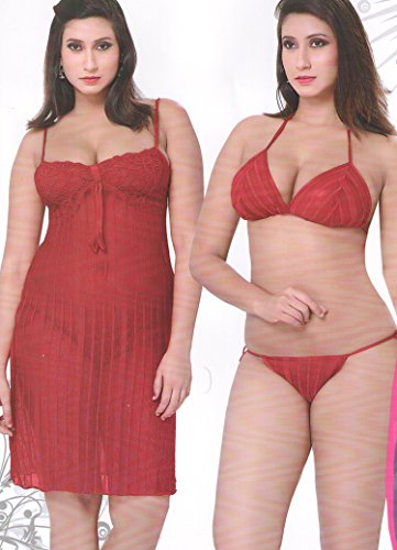 Indiatrendzs Womens Baby Doll Evening Wear Sexy Hot Red Maroon Lingerie 3pc  Set Net Nighty A Stok 2586 b6e157685