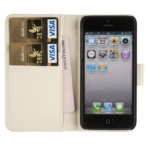 Fonerize Womens Leather Wallet and iPhone 5 Case plus Card Holder in White