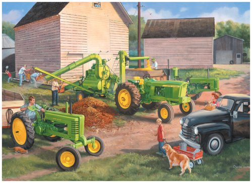 Cheap Fun Great American Puzzle Factory John Deere Shelling Days 1000 Piece Jigsaw Puzzle (B0007D9P24)
