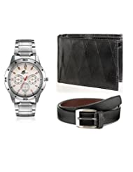 Arum Combo Of Stylish Silver Watch & Black Wallet With Belt AWWB-003