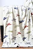 Thro Ltd. Vintage Airplane Printed Microplush Throw, Multi