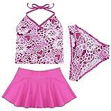 TIAOBU Girls 3pcs Floral Halter Tankini Top Beachwear Swimwear Swimsuit Hot Pink 5-6