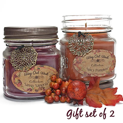 Festive Holiday Jar Candle Gift Pack -Add Holiday Cheer with Fragrant & Long Lasting Candles of Sassy Sangria, a Delightful Cranberry/Orange Blend and Spicy Pumpkin, Like Grandma's Kitchen! (Housewarming Gift Candles compare prices)