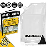 (9) Black & White Label Plastic Flasks Liquor Rum Runner Flask Cruise Kit Sneak Alcohol Drink Wine Pouch Bag Set Concealable Flasks For Booze (3x32oz + 3x16oz + 3x8oz + Wine To Go Flask +Funnel)