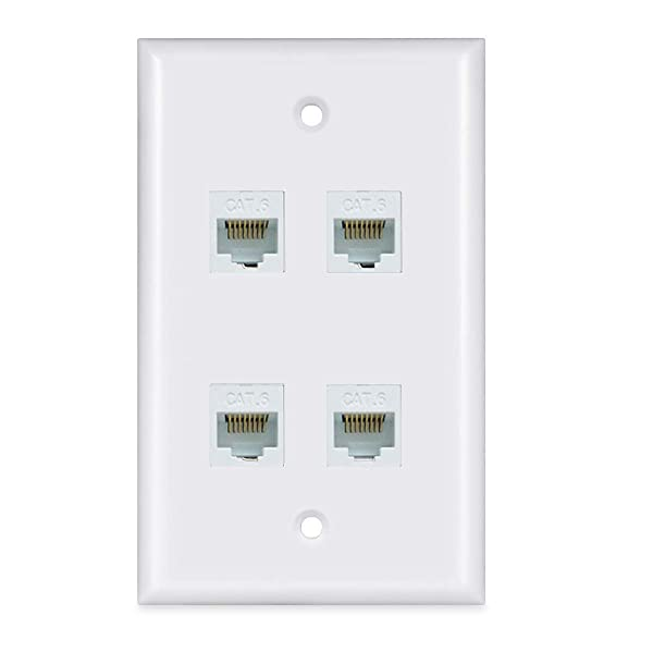 Ethernet Wall Plate 4 Port - Cat6 Ethernet Cable Wall Plate Female to Female - White (Color: white, Tamaño: 4-Port)