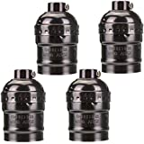 KINGSO 4 Pack E27 Socket Screw Bulbs Edison Retro Pendant Lamp Holder Without Switch 110-220V (Black)
