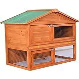 Pawhut 48 in. Deluxe 2 Level Backyard Bunny Rabbit Hutch House