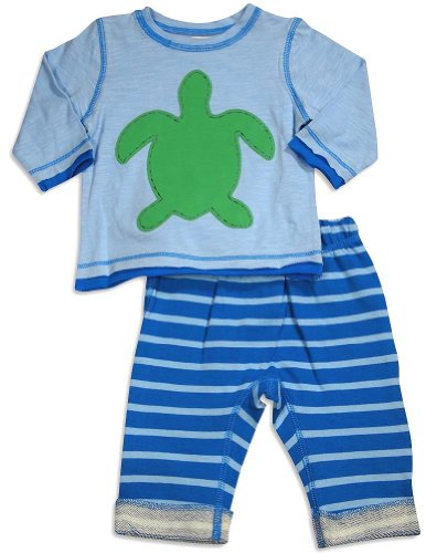 Pepper Toes - Baby Boys Long Sleeve Turtle Pant Set, Light Blue, Blue 30347-24Months