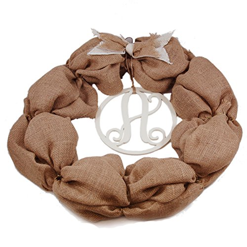 Mud Pie Initial Burlap Wreath (A) - 1