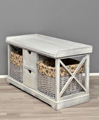 Panca in grigio stile country con cestini con stoffa di fiori per la cucina corridoio e per il bagno - Panca per bagno ...