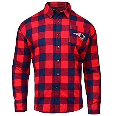 NFL Mens Large Check Long Sleeve Flannel Shirt