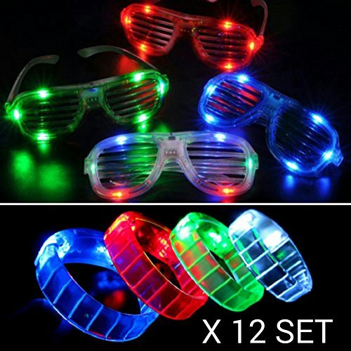 12 PC LED Light Up Glasses and Bracelets Party Pack - Mixed Colors