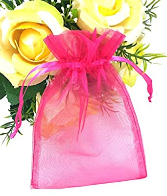 """SumDirect 100Pcs 4""""x6"""" Sheer Drawstring Organza Jewelry Pouches Wedding Party Christmas Favor Gift Bags"""