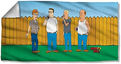 King of the Hill Animated Adult Cartoon Hanging By the Fence Beach Towel