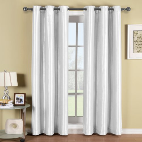 Soho white grommet blackout window curtain panel solid for Hotel drapes for sale