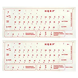 HQRP 2pcs NEW Ukrainian / Russian Cyrillic Keyboard Stickers with Red Lettering on Transparent Background for All PC & Laptops plus HQRP Coaster