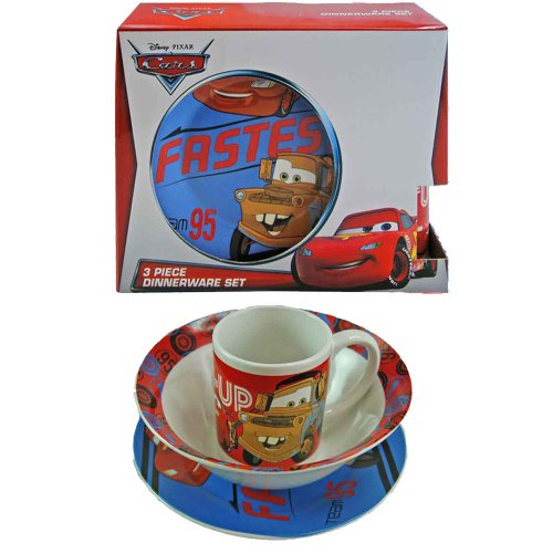 Disney Cars Childrens Porcelain 3 Piece Dinnerware Set - Plate, Bowl, Mug