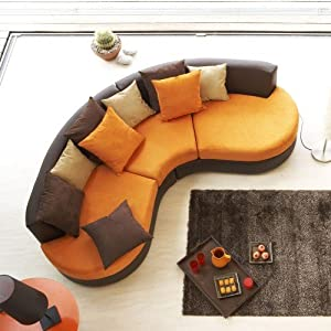 Cotedeco canape demi lune cheyenne couleur orange for Canape demi lune convertible