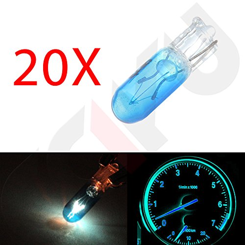 CCIYU 20 pcs T5 17 86 206 Blue Halogen Light Bulb Instrument Cluster Gauge Dash Lamp 12V (1997 Toyota Tercel Dash Parts compare prices)