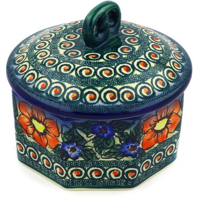 Polmedia Polish Pottery 7-Inch Stoneware Jar With Lid H0863E Hand Painted From Cer-Raf In Boleslawiec Poland. Shape S874B(222) Pattern P5702A(K24) Unikat