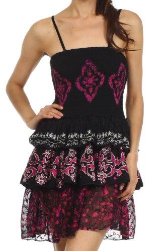 Sakkas 2131 Raji Batik Hem Tunic Short Dress - Black / Pink - One Size
