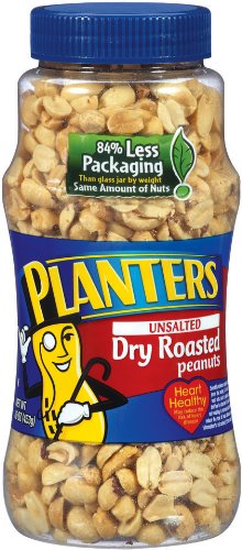 Planters Peanuts, Unsalted, Dry Roasted, 16-Ounce Jars (Pack of 4) (Unsalted Roasted Peanuts In Shell compare prices)