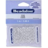Beadalon Chain 4.6mm Round Tri Silver Plated, 1-Meter