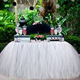 Aytai TUTU Table Skirt Tulle Tableware Queen Wonderland Table Cloth Skirting Romantic for Wedding Christmas Party Baby Shower Birthday Cake Table Girl Princess Decor(1, White)