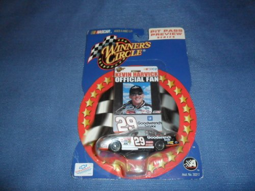 Kevin Harvick #29 GM Goodwrench Service Silver Black 1/64 Scale Diecast With Official Fan Photo Badge Winners Circle 2002 - 1