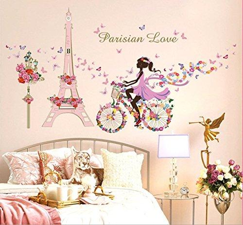 zooarts-Fleur-Fe-Papillon-Amovible-Stickers-Muraux-Autocollant-pour-chambre-enfant-fille