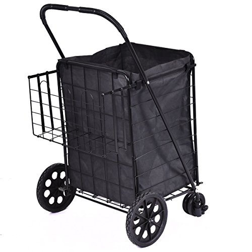 Folding Shopping Cart Jumbo Swivel Wheels Extra Basket Trolley Grocery Laundry Metal Frame For Years Of Use Material Steel Rubber Brand New (Package Cart compare prices)