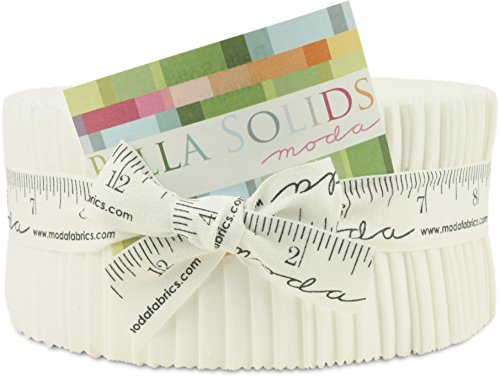 Moda Bella Solids White Bleached 9900-98 Jelly Roll, 40 2.5x44-inch Cotton Fabric Strips (Moda Jelly Rolls For Quilting compare prices)