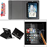 ECellStreet PU LEATHER 360° Rotating Flip Case Cover With Stand For Samsung Galaxy Tab 3 T211 + Free Tempered...