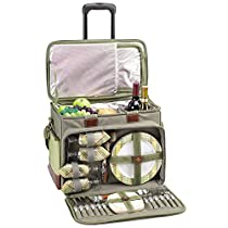 Picnic at Ascot Hamptons Picnic Cooler for 4 on Wheels