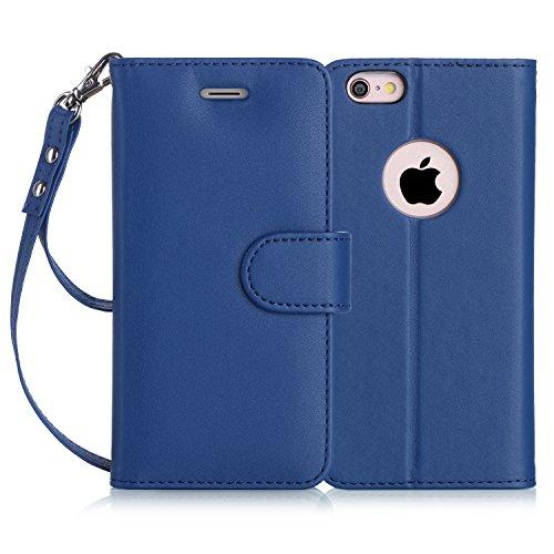 iPhone6s ケース iPhone6ケース,Fyy ハンドメイド 良質PUレザーケース 横開き 手帳型 二つ折り カード収納ホルダー&ストラップ付き スタンド機能 保護カバー ネイビー