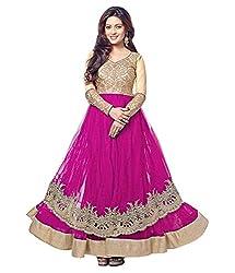 Ethnic Basket Pink Semi Stitched Net Anarkali Salwar Suit