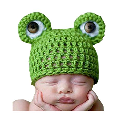 [Pep-Baby® Baby Photography Prop Animal Frog Prince Knitted Crochet Costume Hat Caps] (Prince Frog Costumes)
