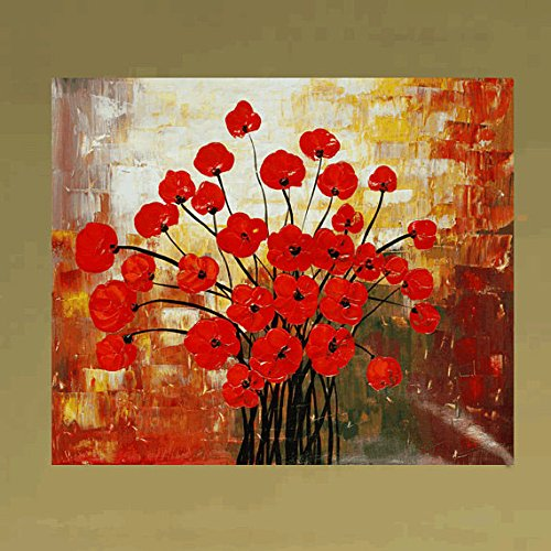 Xm Art-Red Flower Festival Palette Knife Landscape Oil Painting On Canvas Wall Art Deco Home Decoration(Unstretch And No Frame)