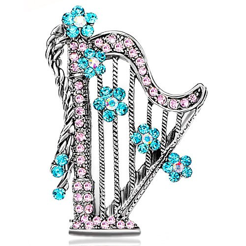 Harp With Pink Crystal And March Birthstone Aquamarine