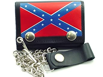 Confederate Rebel Flag Genuine Leather Chain Wallet #6