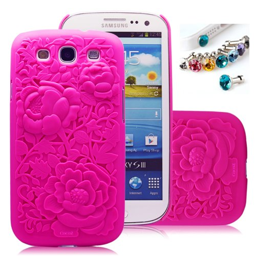 Cocoz®fukki Rose Red Peony Carved Palace Fashion Design Samsung Galaxy S III I9300 Hard Case Cover Skin Retail Packing(pc) -H023