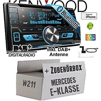 Mercedes E-Klasse W211 - Kenwood DPX-7000DAB - 2DIN Bluetooth DAB+ Digitalradio USB CD MP3 Autoradio inkl. DAB Antenne - Einbauset