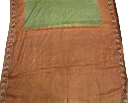 antique vintage brown filo di seta pura sari tessitura artigianato tessuto donna abbigliamento in tessuto involucro riciclato utilizzato saree