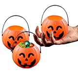 Toy Cubby 2 ½ Inches Mini Pumpkin Treats and Sweets Holder with Handles - 12 Pieces