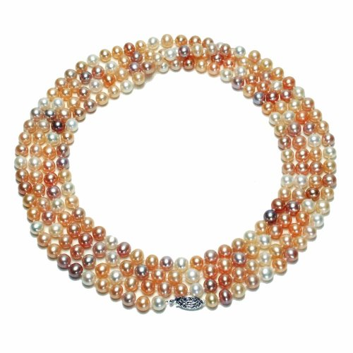 Sterling Silver Natural Pastel Multi-Color Freshwater Cultured Pearl A Grade 6.5-7mm Necklace, 60
