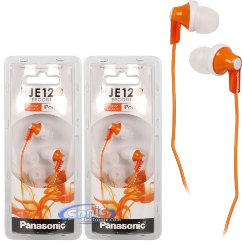 Panasonic Rp-Hje120 Orange Ergofit Earbuds Stereo In-Ear Headphones 2-Pack Rphje120D