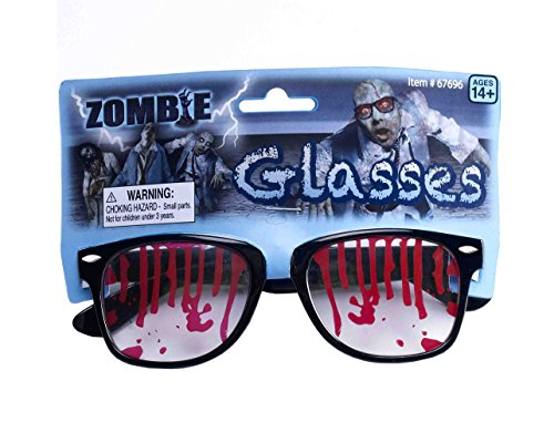 Forum Novelties Men's Bloody Zombie Glasses, Black/Red, One Size